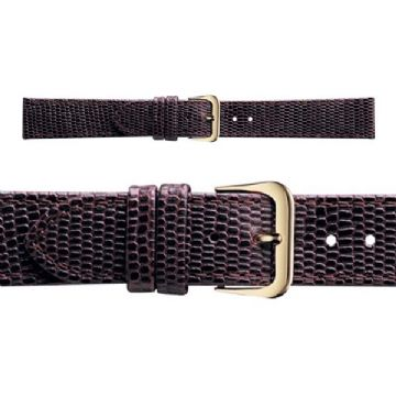 Genuine Lizard Grain Brown Leather Watch Strap